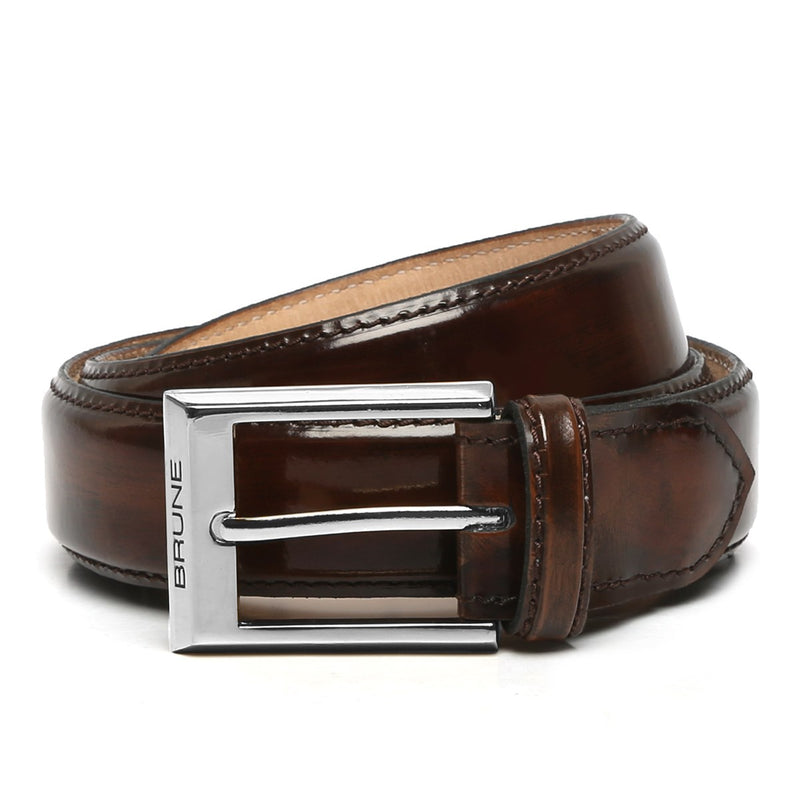 Brown Patent Leather Silver Finish Buckle Belts By Brune