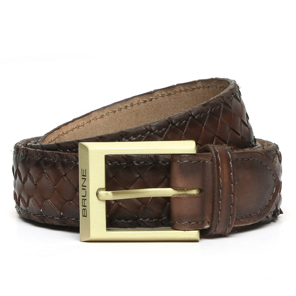 Brown Full Hand Weaved Matte Golden Buckle Leather Belt By Brune