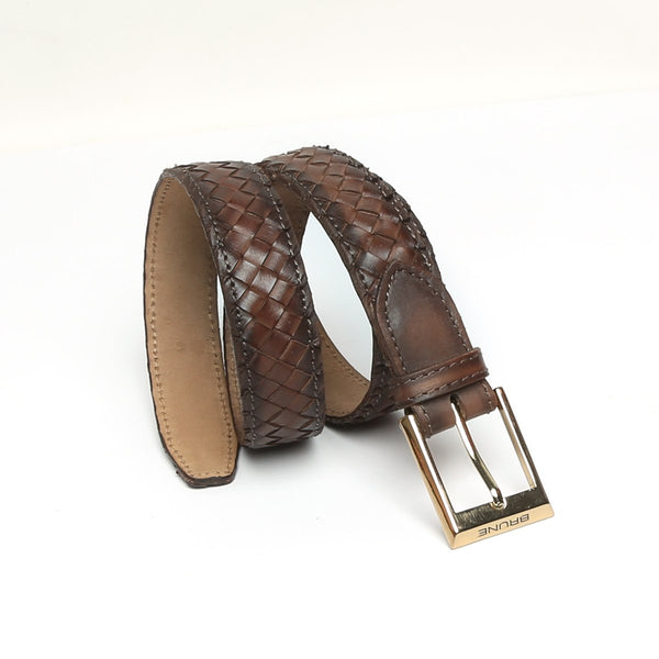 Brown Full Hand Weaved Shiny Golden Buckle Leather Belt By Brune
