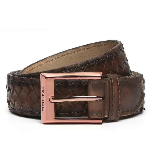 Brown Full Hand Waved Rose Gold Buckle Leather Belt By Brune