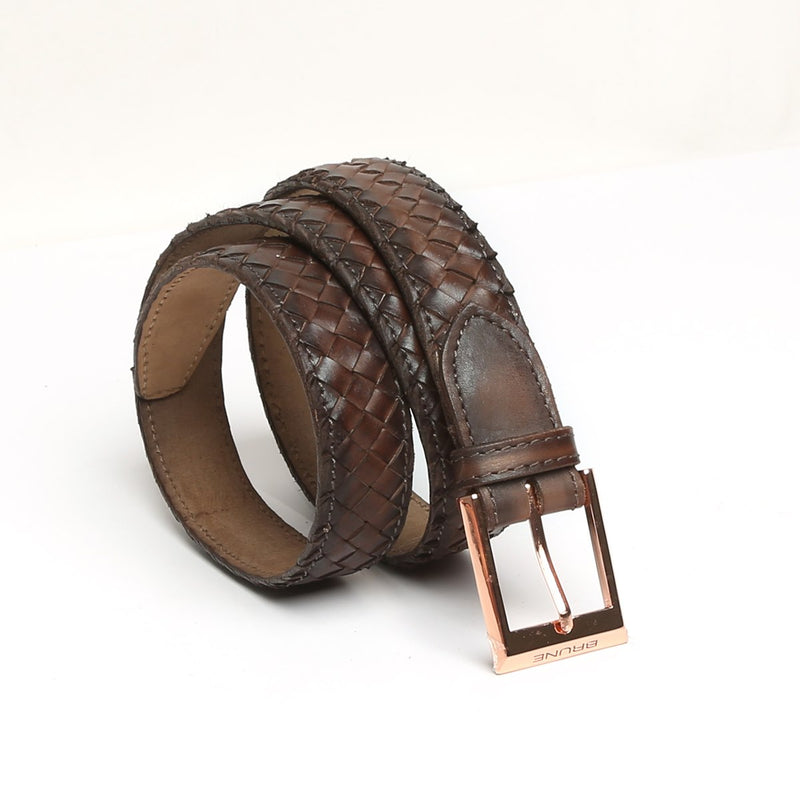 Brown Full Hand Weaved Rose Gold Buckle Leather Belt By Brune