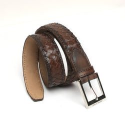 Brown Full Hand Weaved Silver Buckle Leather Belt By Brune