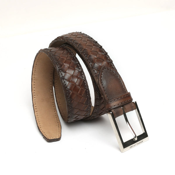 Brown Full Hand Waved Silver Buckle Leather Belt By Brune