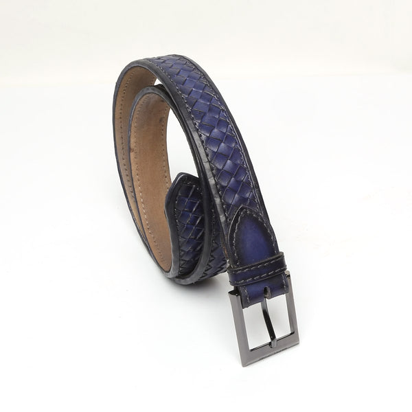 Blue Full Hand Waved Gunmetal Buckle Leather Belt By Brune