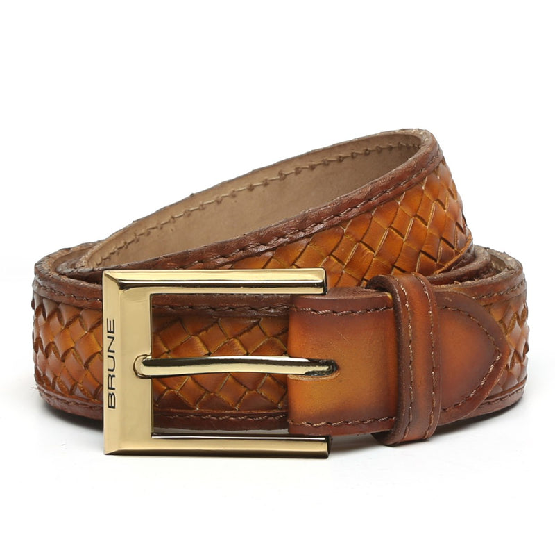 Tan Full Hand Weaved Shiny Golden Buckle Leather Belt By Brune