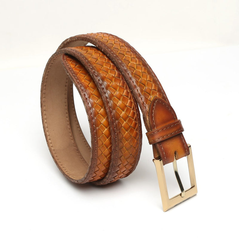Tan Full Hand Waved Shiny Golden Buckle Leather Belt By Brune
