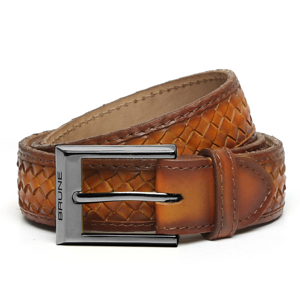 Tan Full Hand Weaved Gunmetal Buckle Leather Belt By Brune