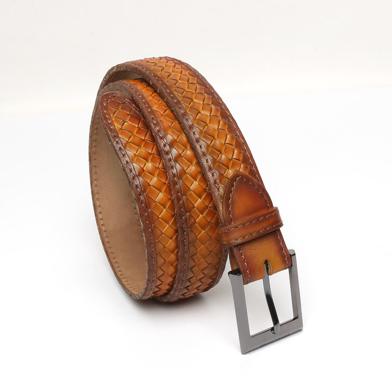 Tan Full Hand Waved Gunmetal Buckle Leather Belt By Brune