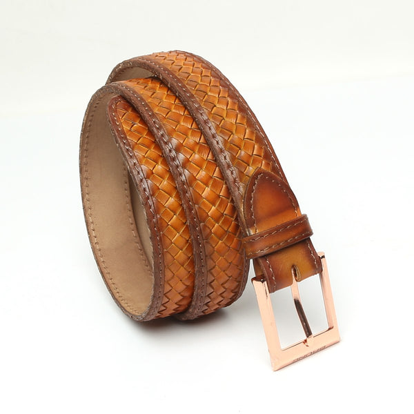 Tan Full Hand Waved Rose Gold Buckle Leather Belt By Brune