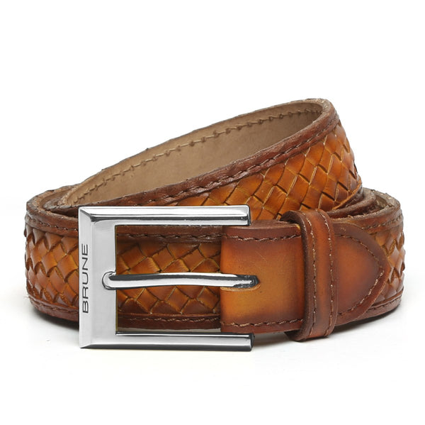 Tan Full Hand Waved Silver Buckle Leather Belt By Brune