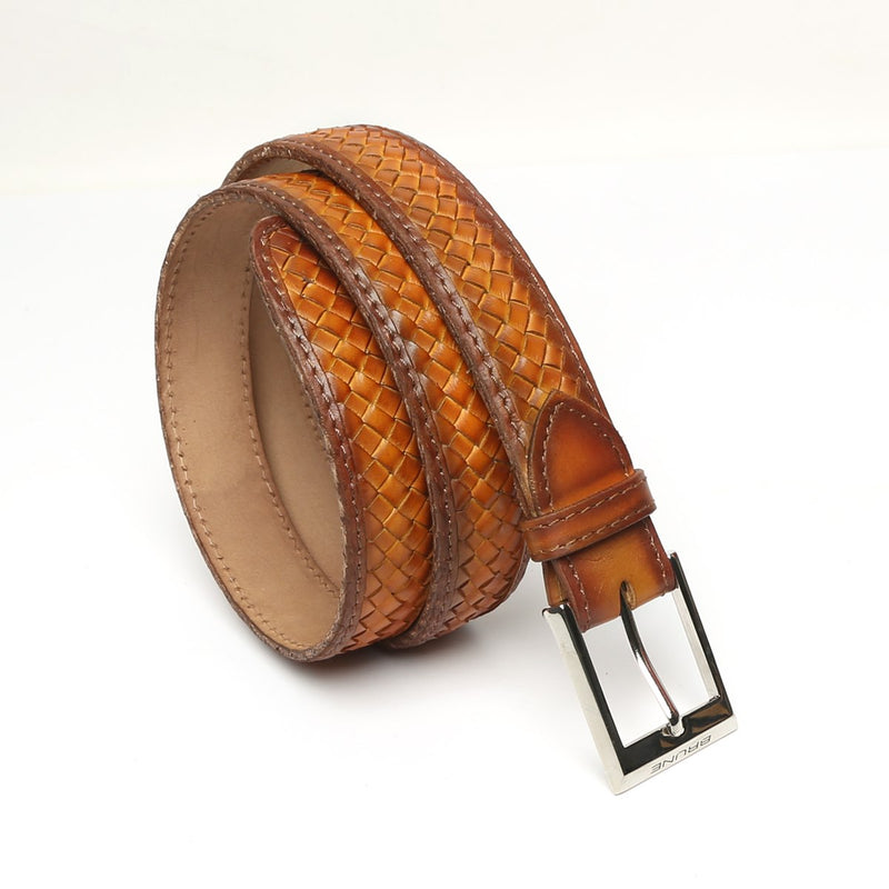 Tan Full Hand Weaved Silver Buckle Leather Belt By Brune