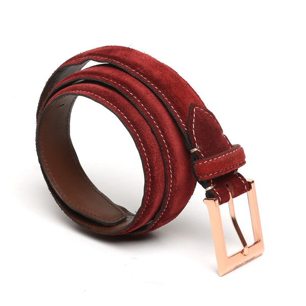 Red Suede Leather Belt By Brune