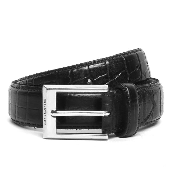 Black Croco Print Leather Silver Buckle Belt By Brune