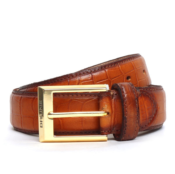 Tan Croco Print Leather Golden Buckle Belt By Brune