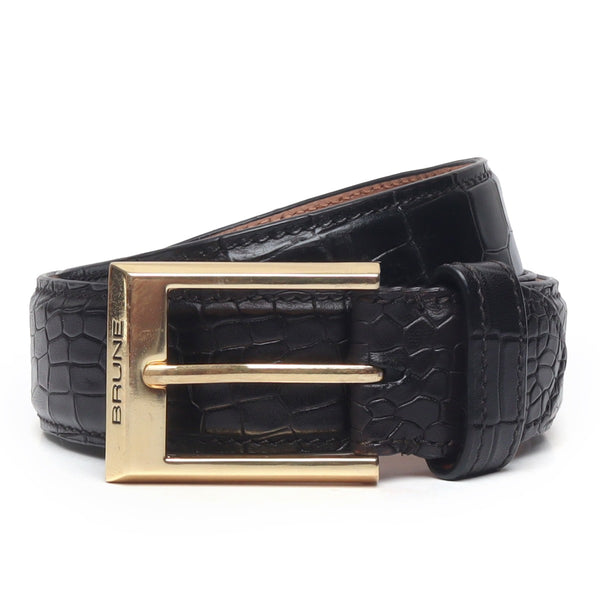 Black Croco With Golden Square Buckle Hand Painted Leather Formal Belt By Brune