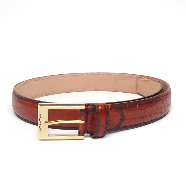 Tan Croco With Golden Square Buckle Hand Painted Leather Formal Belt By Brune