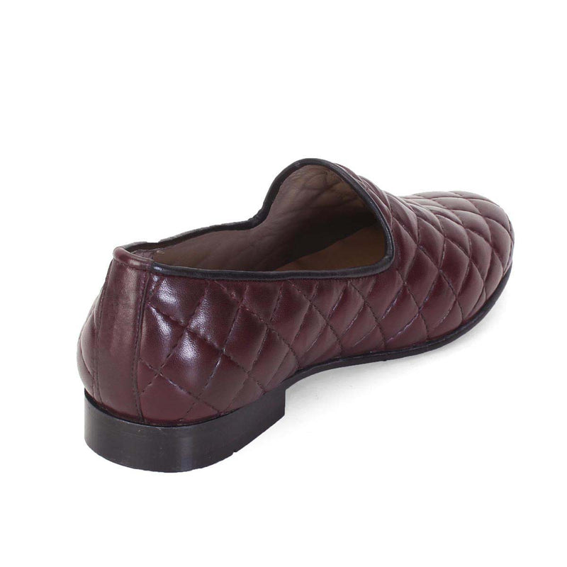 Wine / Burgundy Diamond Stitched Genuine Leather Slip On By Bareskin