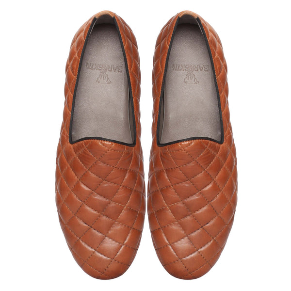 Tan Diamond Stitched Genuine Leather Slip On By Bareskin