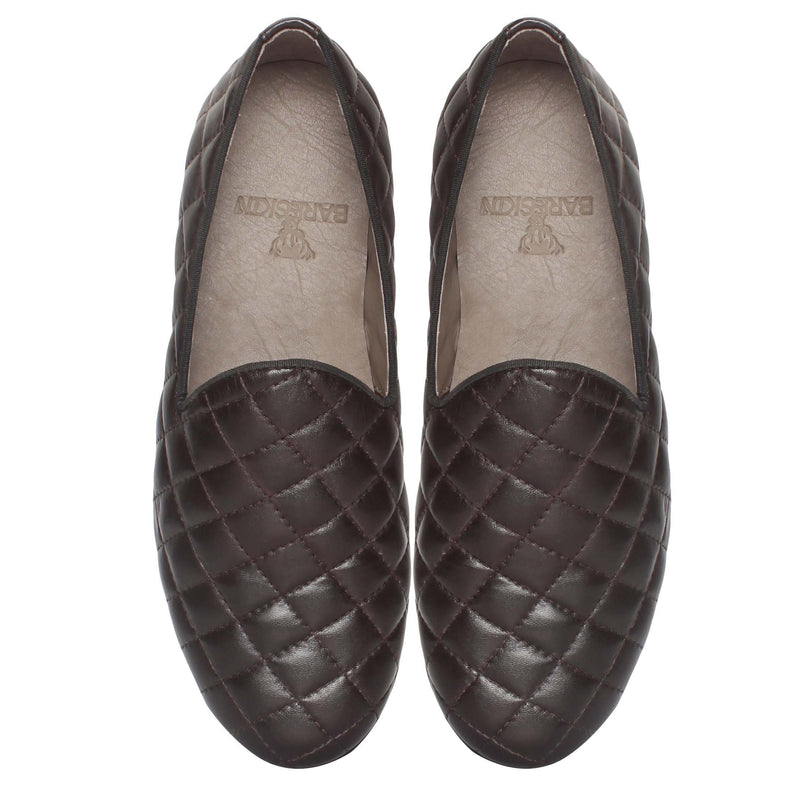 Brown Leather Diamond Stitched Slip-On By Bareskin