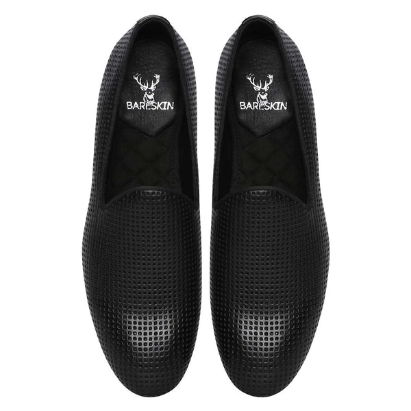 Black Perforated Leather Slip-On Shoes By Bareskin