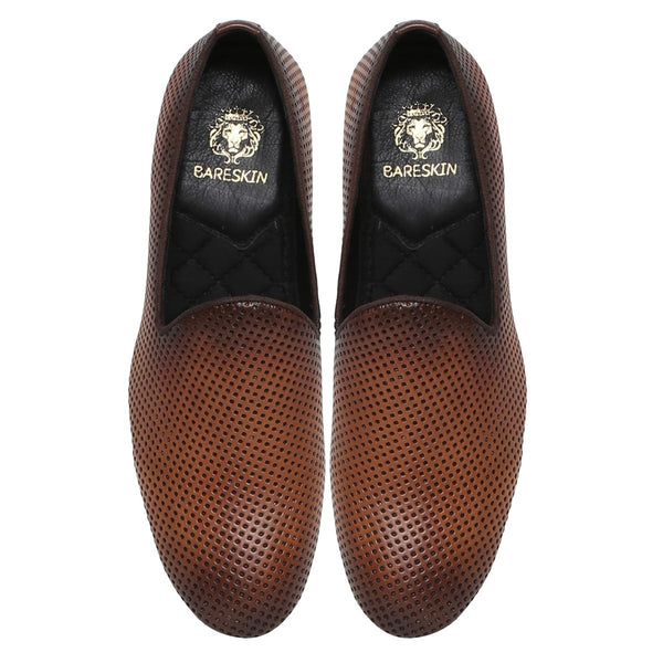 Tan Perforated Leather Slip-On Shoes By Bareskin