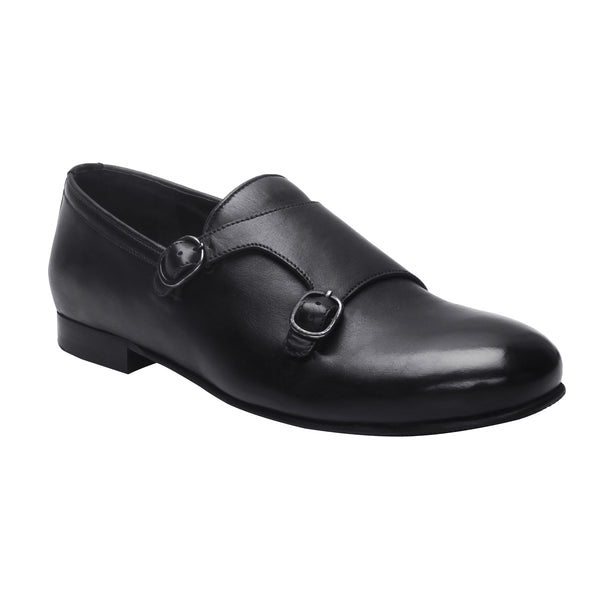 Black Genuine Leather Monk Strap By Bareskin