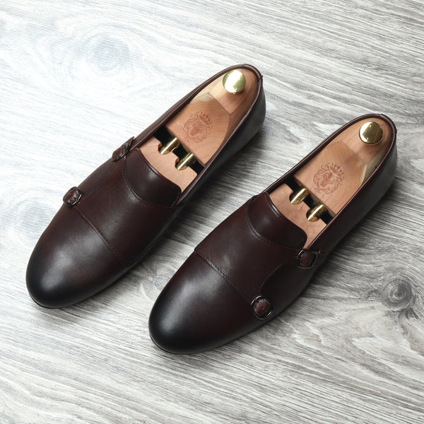 Brown Genuine Leather Monk Strap By Bareskin