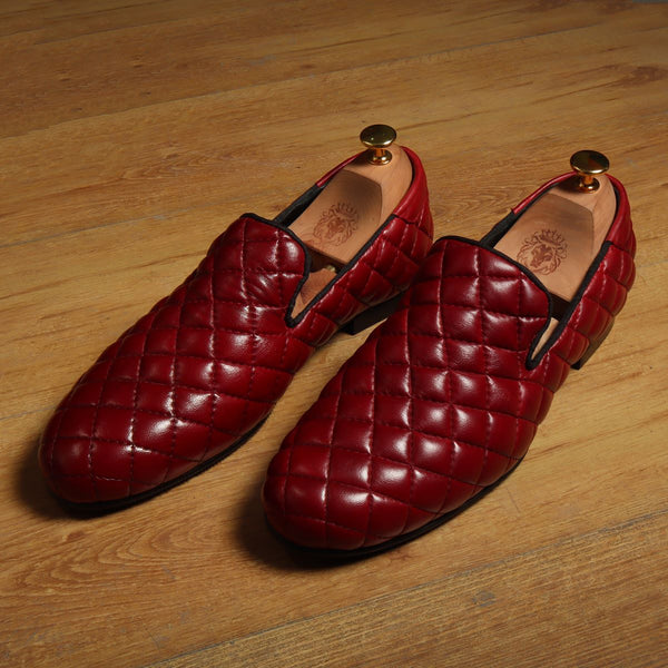 Red Diamond Stitched Long Vamp Genuine Leather Slip On By Bareskin