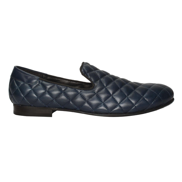 Blue Diamond Stitched Long Vamp Leather Slip-On By Bareskin