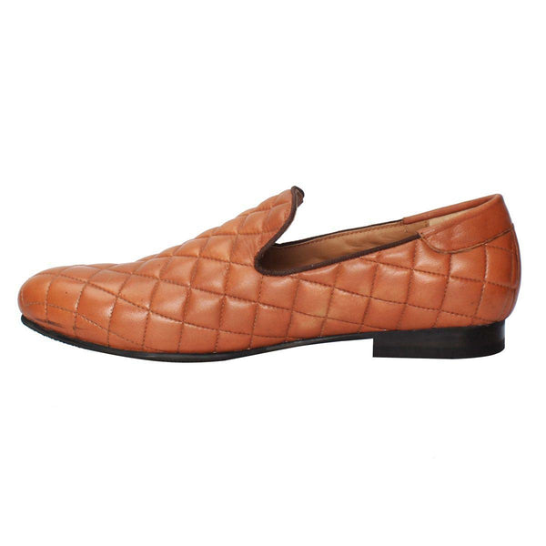 Tan Diamond Stitched Long Vamp Genuine Leather Slip On By Bareskin