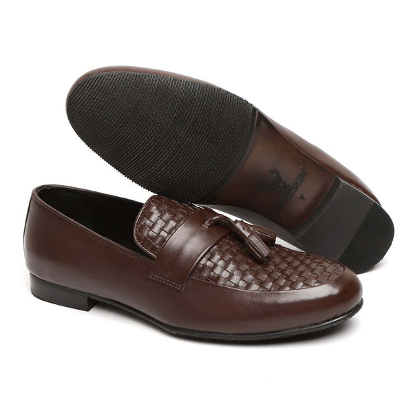 Dark Brown Hand Woven Leather Tassel Slip-On Shoes By Bareskin