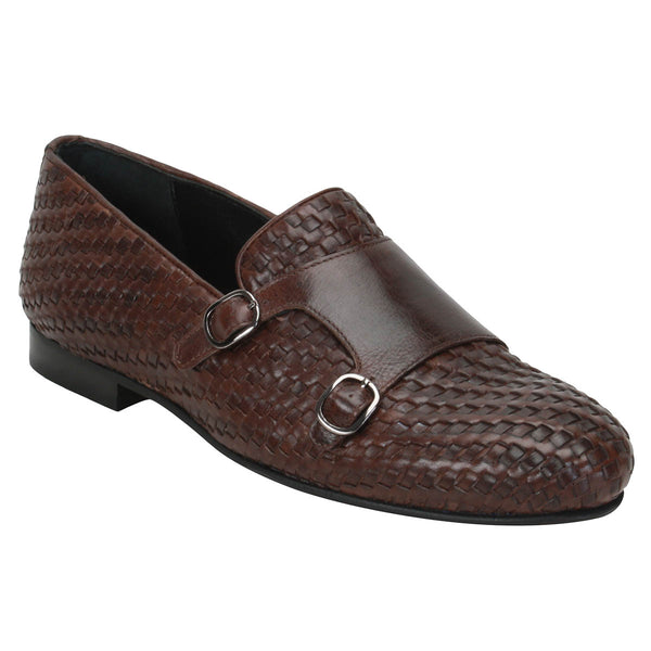 Brown Full Weaved Double Monk Leather Slip-On Shoes By Bareskin