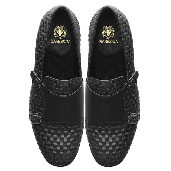 Black Full Weaved Double Monk Leather Slip-On Shoes By Bareskin
