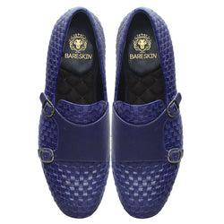 Blue Full Weaved Double Monk Leather Slip-On Shoes By Bareskin