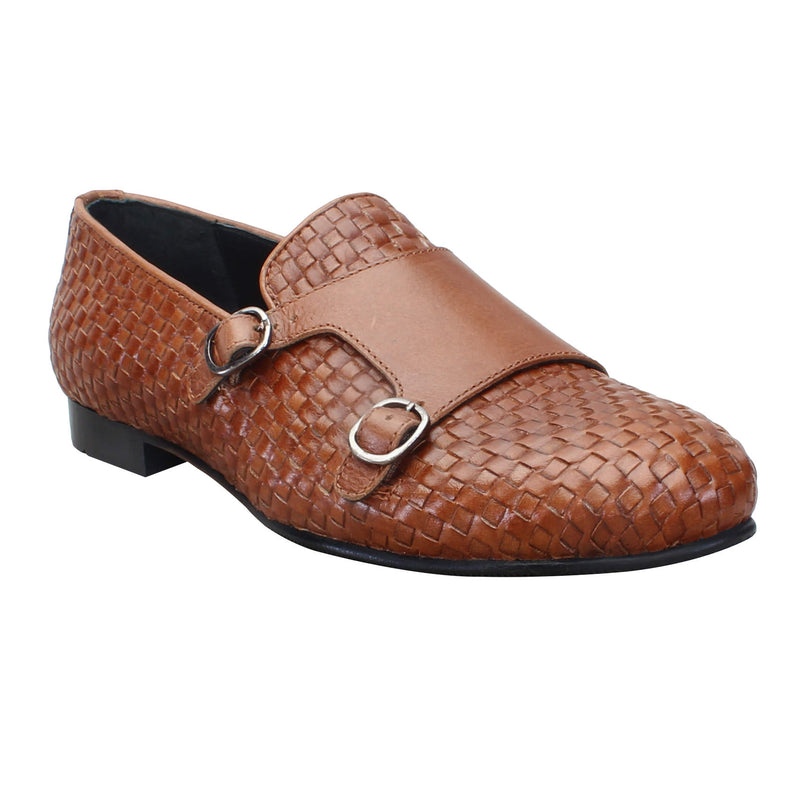 Tan Genuine Leather Monk Strap By Bareskin