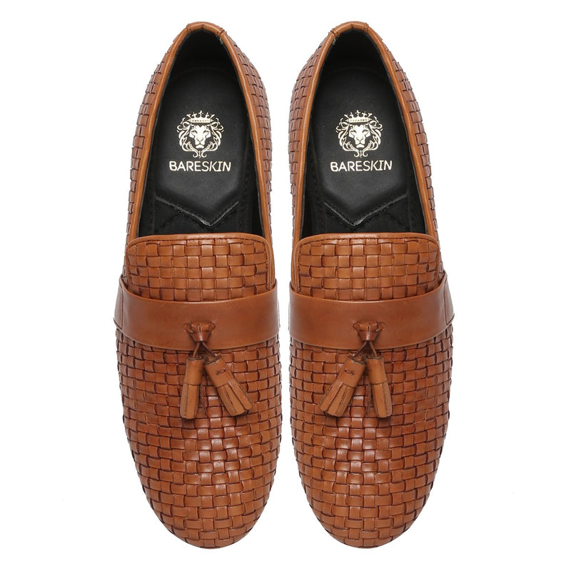 Tan Two Tone Hand Weaved Leather Tassel Slip-On Shoes By Bareskin