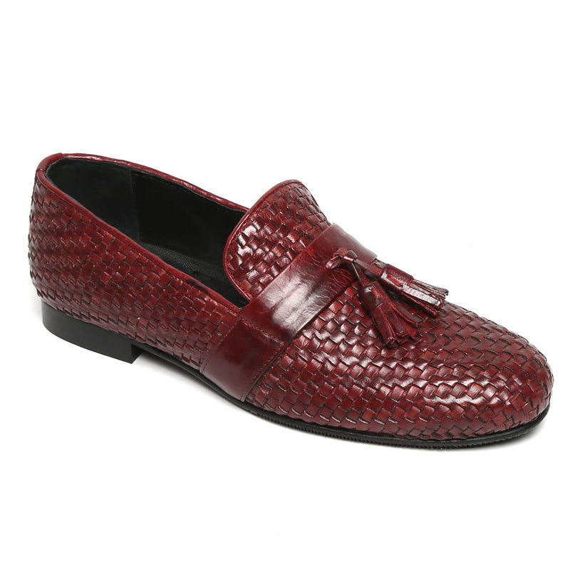 Burgundy/Wine Two Tone Hand Weaved Leather Tassel Slip-On Shoes By Bareskin