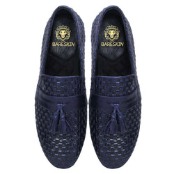 Royal Blue Full Weaved Leather With Stylish Tassel Slip-On Shoes By Bareskin