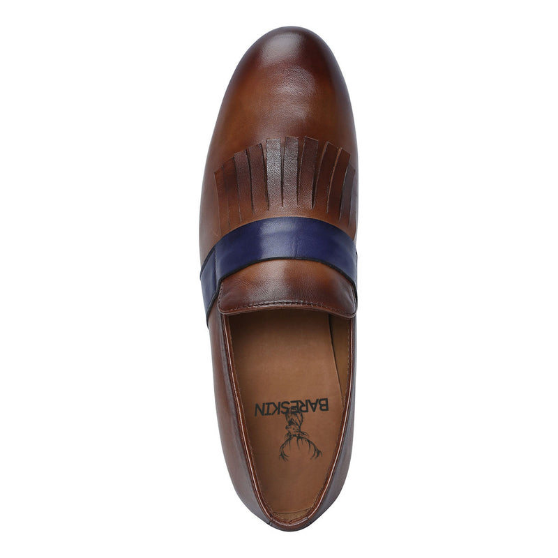 Brown Leather Blue Strip Fringed Slip-On Shoes By Bareskin