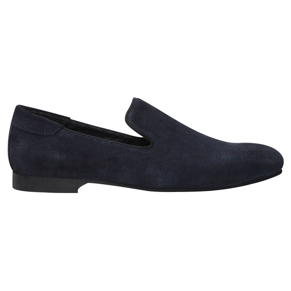 Navy Blue Suede Leather Casual Slip On Shoes By Bareskin