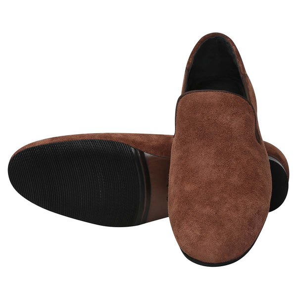 Bareskin Brown Suede Leather Slip-On Shoes For Men
