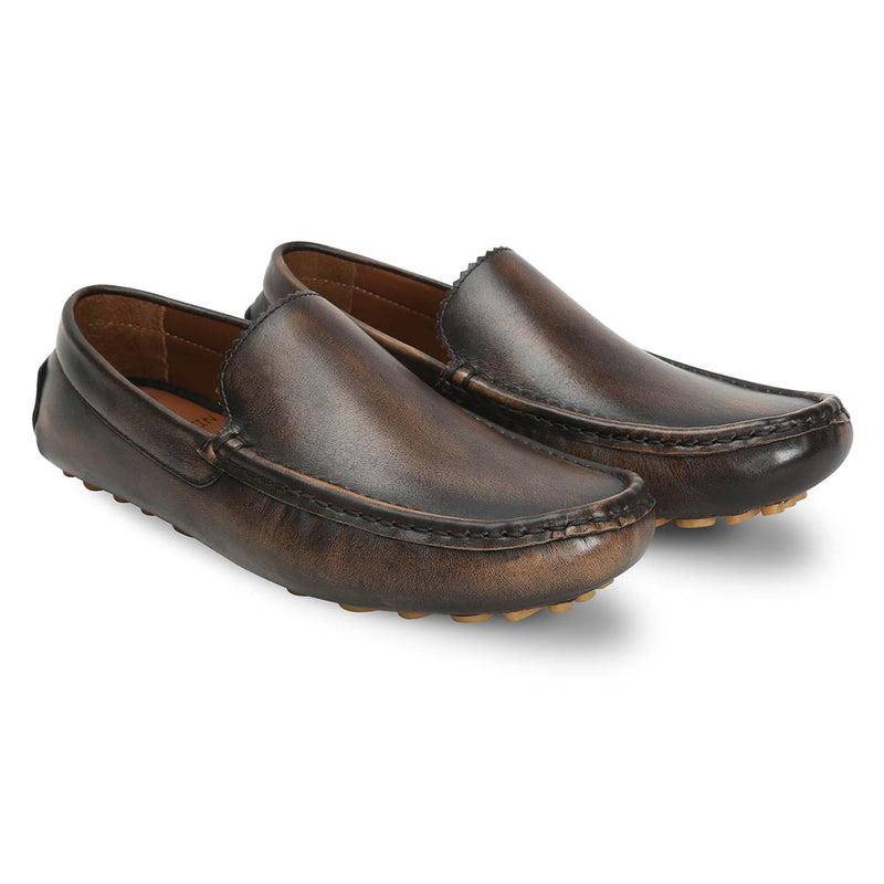 Grey Genuine Leather Loafers By Bareskin