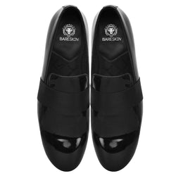 Black Patent Leather With Mid Strap Design Slip-On Shoes By Bareskin