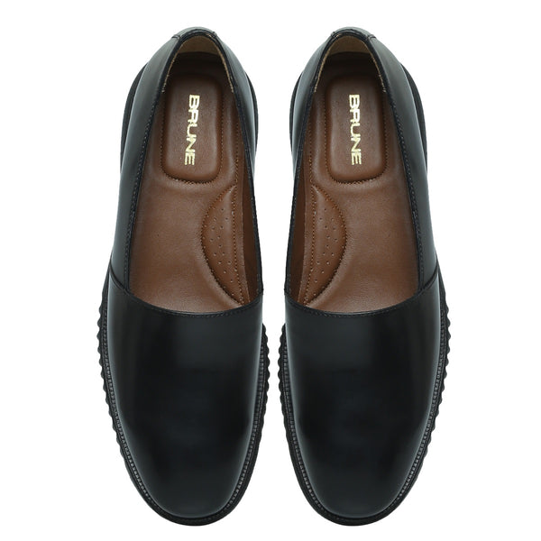Black Leather Easy Wear Light Weight Slip-Ons by BRUNE