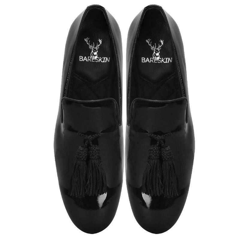 Black Patent Leather Tassel Loafers By Bareskin