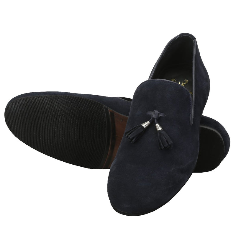 Navy Knot-Style Tassel Suede Leather Slip-On By Bareskin