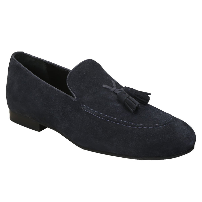 Navy X-Style Tassel Suede Leather Loafers By Bareskin