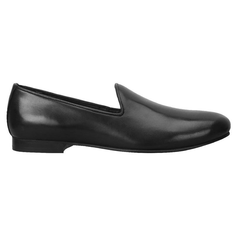 Black Whole Cut/One-Piece Leather Slip-On Shoes For Men By Bareskin