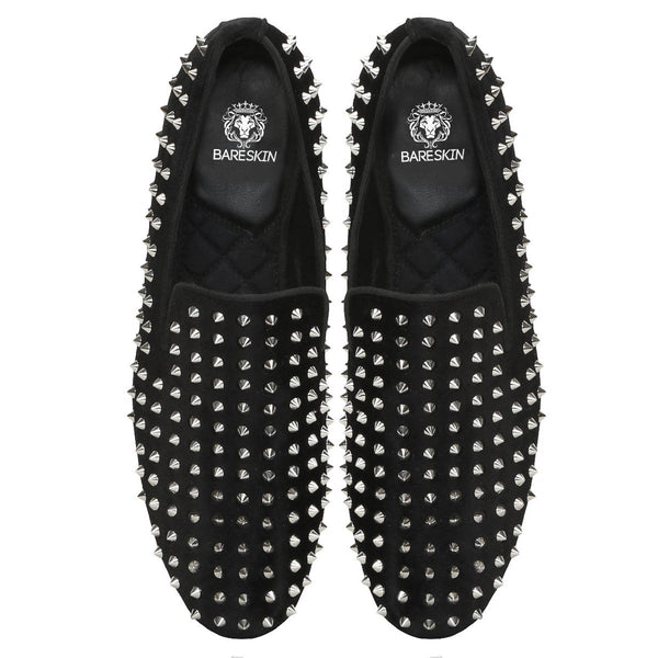 Bareskin Men Shiny Nickle Studd Black Velvet Slip-Ons