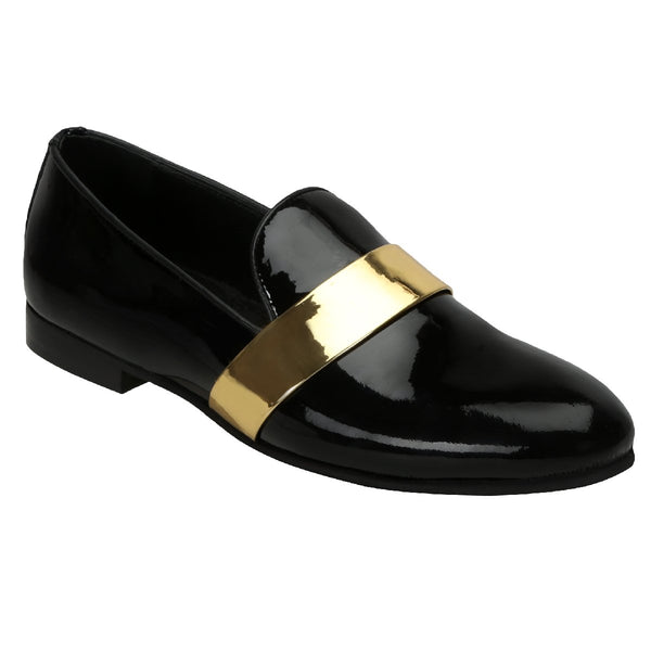 Black Patent Leather Slip On With Golden Strap By Bareskin